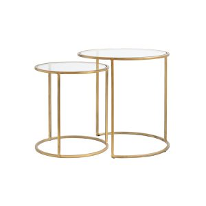 Glass Gold Side Table Set