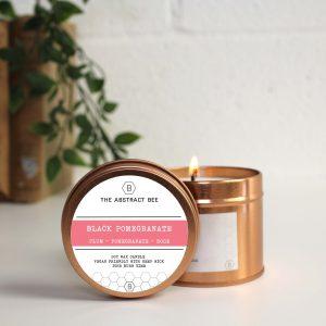 Black Pomegranate Scent Tin Candle