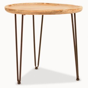 Iron And Wood Side Table