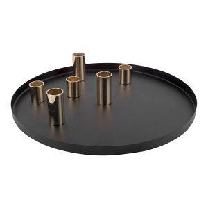 Black plate candle holder