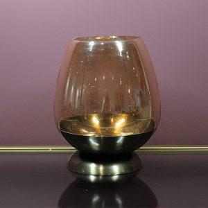 Glass hurricane gold base