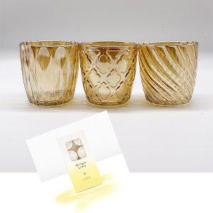 Amber Glass Tealight Set