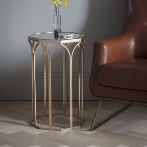 Gold and mirror side table