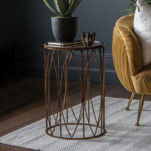 Antique bronze side table