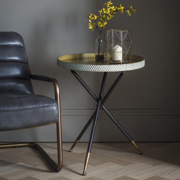 Black & Gold Tripod Table