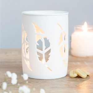 White Feather Cut Out Wax Melt Burner