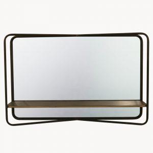 Iron Landscape Mirror With Shelf