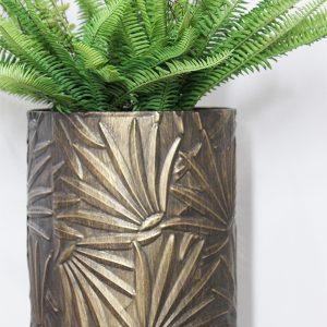 Palm Leaf Bronze Planter