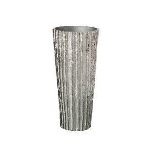 ribbed silver vase