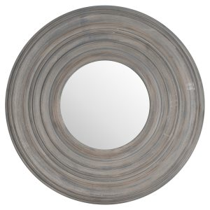 Grey Painted Round Mirror