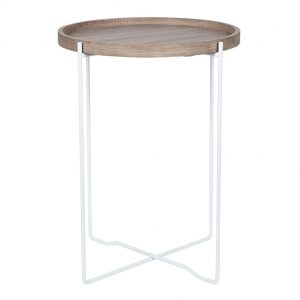 Natural Wood & Iron Side Table