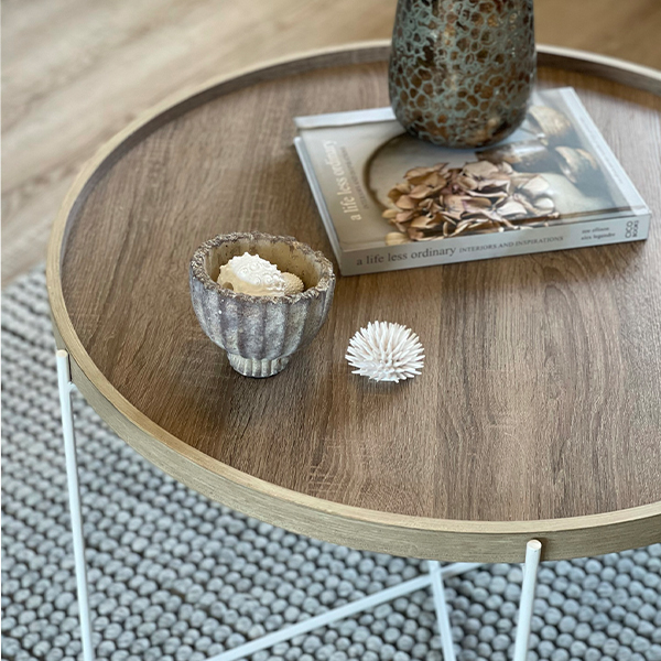 Natural Wood & Iron Coffee Table