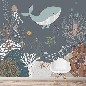Under The Sea Wallpaper Mural Navy