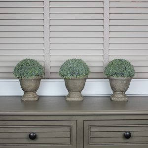 Faux Topiary Boxwood In Stone Urn