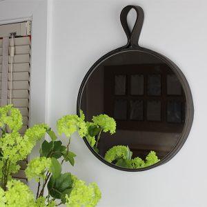 Charlton Black Round Mirror